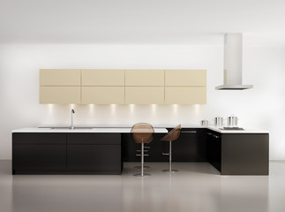 Contemporary minimal beige kitchen