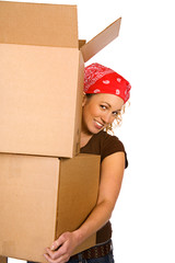 Boxes: Woman Carrying Stack Of Boxes