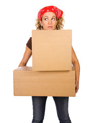 Boxes: Woman Carrying Stack Of Cardboard Boxes