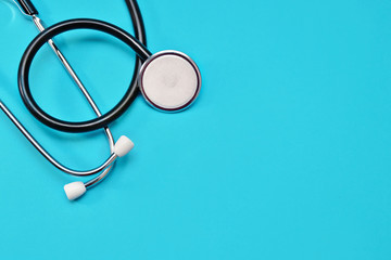Medical Stethoscope on a blue background