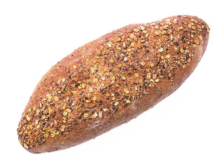 Whole grain bread Loaf shot from above over white background