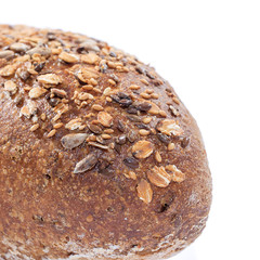 Whole grain bread Detail over white background