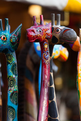 Giraffen - bunte Holzgiraffen