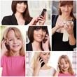Frauen mit Telefon Collage