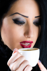 Attractive woman with coffee cup