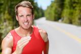 Man runner running endurance training jogging poster