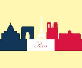 Paris France city skyline vector silhouette illustration