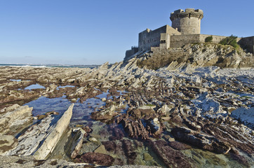 Fort of Socoa and low tide Atlantic cost