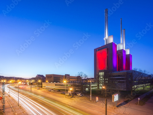 Leinwanddruck Bild Hannover-Linden Power Plant at evening