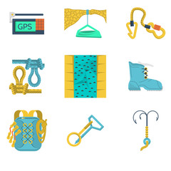 Flat color icons collection of mountaineering equipment