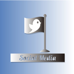 Social media illustration, flag and bird over color background