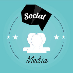 Social media illustration, head persons and bubble talk geometri