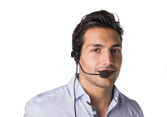 Young male telemarketer or call center operator