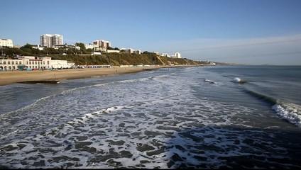 Waves Bournemouth beach and coast Dorset England UK