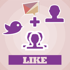Social media illustration, purple icons over pink color backgrou