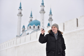Man making selfie in Kazan, Russia