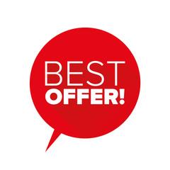 Red Best offer flat design vector