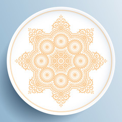 White plate with gold floral ornament