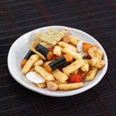 japanese Otsumami rice cracker or crunchy snack chip and peanut