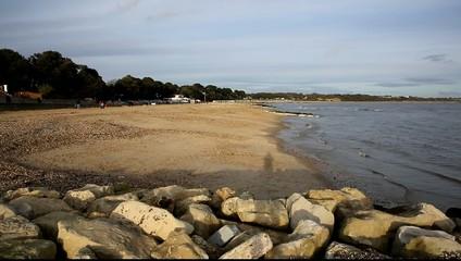 Mudeford beach coast PAN near New Forest Dorset England UK