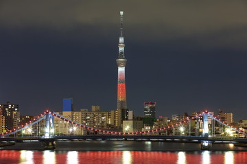 Tokyo city view and Tokyo sky tree with red christmas light up