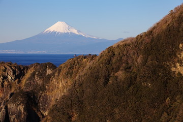 Mountain Fuji and sea from Izu city Shizuoka prefecture , Japan