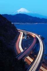 Tomai expressway and Suruga bay with mountain fuji at Shizuoka