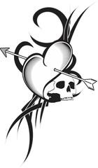 heart arrows tattoo