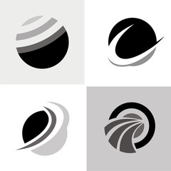 round sphere abstract logos