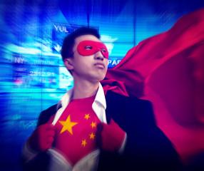 Superhero Businessman Chinese Stock Market Concept