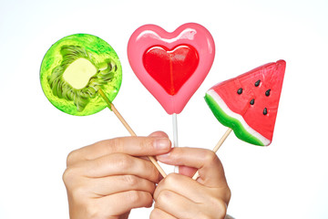 Lollipop heart, watermelon and kiwi