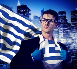 Businessman Superhero Country Greece Flag Culture Power Concept