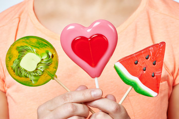 Lollipop heart, watermelon and kiwi