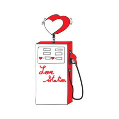 Drawing Cartoon Of Love Station. Vector Illustration