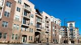 Street view on modern apartment complex