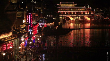 Evening view of historic center of Fenghuang city.