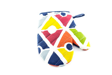 colorful oven glove isolated on white