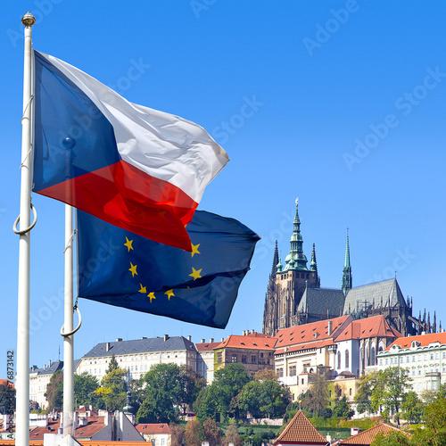 Foto op Canvas Praag Flag, Prague castle and Lesser town, Prague, Czech republic