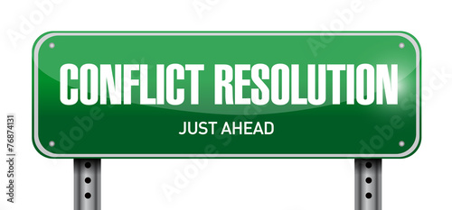 conflict resolution road sign illustration