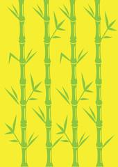 Minimalist Bamboo Vector Illustration on Bright Yellow Backgroun