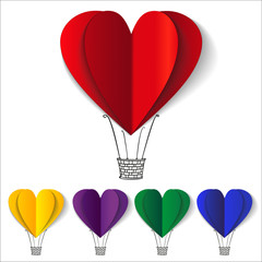 Heart-shaped hot air balloons background vector llustration