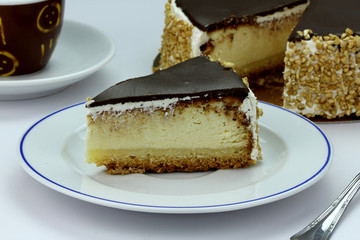 Delicious cheesecake with chocolate icing