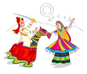 Dancing Rajasthani couple