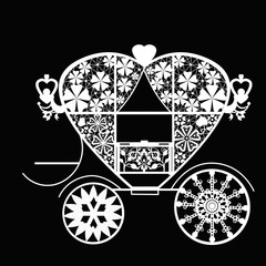 Vintage white lace carriage on black background