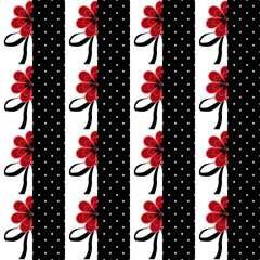 Seamless floral pattern with red flowers striped background
