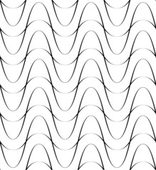 Black and white seamless pattern wave line style.
