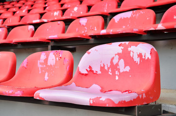 Chairs red of stadium