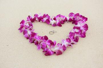 Wedding rings beach love concept