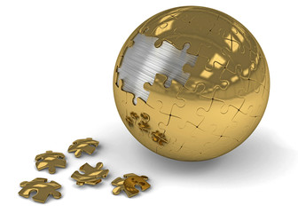 Puzzle sphere - Gold and silver