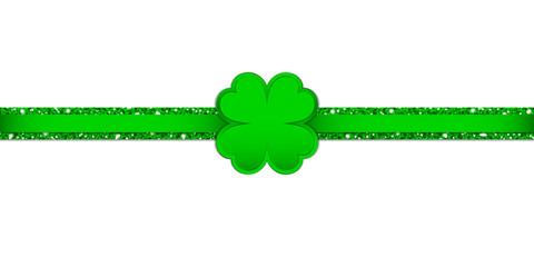 Clover Double Glitter Ribbon Horizontal Green